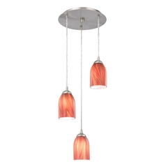 Modern Multi-Light Pendant Light with Red Glass and 3-Lights