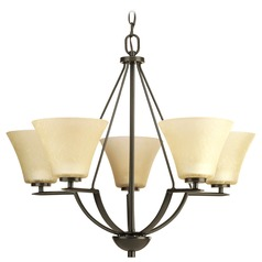 Progress Chandelier with Brown Glass in Antique Bronze Finish