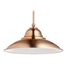 Quorum Lighting Satin Copper Pendant Light with Bowl / Dome Shade