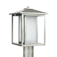 Etched Seeded Glass Post Light Pewter Sea Gull Lighting