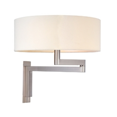Modern Pin-Up Lamp with White Shade in Satin Nickel Finish