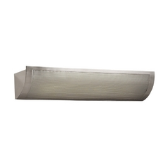 Modern Bathroom Light with White Glass in Satin Nickel Finish