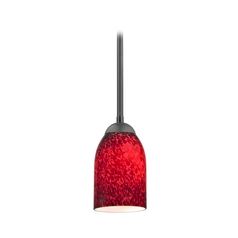 Black Mini-Pendant Light with Red Art Glass
