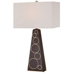 George Kovacs Portables Dark Walnut with Honey Gold Accents Table Lamp with Rectangle Shade