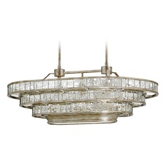 Currey And Company Frapp 3-Light Chandelier in Silver Granello / Raj Mirror