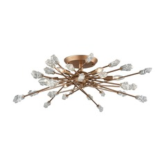 Mid-Century Modern Semi-Flushmount Cluster Light Gold Serendipity by Elk Lighting