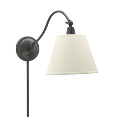 Wall Lamp with White Shade in Oil Rubbed Bronze Finish