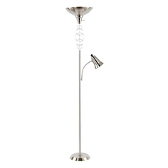 Modern Torchiere Lamp in Brushed Nickel Finish