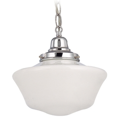 10-Inch Chrome Schoolhouse Mini-Pendant Light with Chain