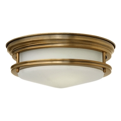 Flushmount Light with White Glass in Brushed Bronze Finish