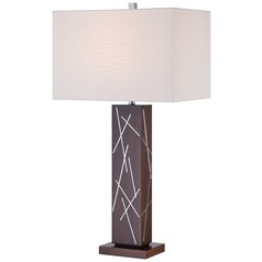 George Kovacs Portables Dark Walnut with Chrome Accents Table Lamp with Rectangle Shade