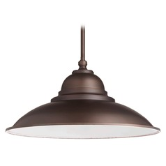 Quorum Lighting Oiled Bronze Pendant Light with Bowl / Dome Shade