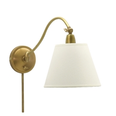 Wall Lamp with White Shade in Weathered Brass Finish