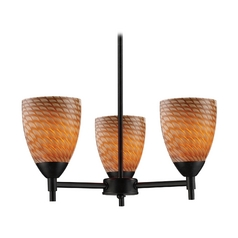 Mini-Chandelier with Art Glass in Dark Rust Finish
