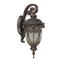 Outdoor Wall Light with Beige / Cream Glass in Burlwood Finish