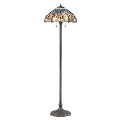 Design Classics Lighting Tiffany Dragonfly Bronze Pull-Chain Floor Lamp 1640 AB