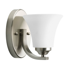 Progress Sconce Wall Light with White Glass in Brushed Nickel Finish