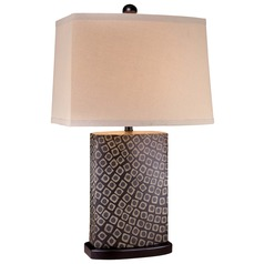 Minka Lavery Black with beige Oak Table Lamp with Rectangle Shade