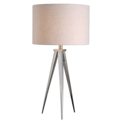 Mid-Century Modern Table Lamp Brushed Steel Foster by Kenroy Home