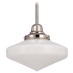 10-Inch Schoolhouse Mini-Pendant light with Opal White Glass