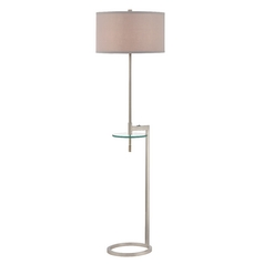 Floor Lamp with Glass Tray Table and Pewter Drum Shade