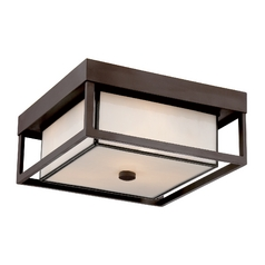 Close To Ceiling Light with White Glass in Western Bronze Finish