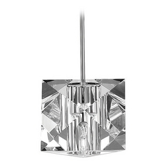 Wac Lighting Crystal Collection Chrome Mini-Pendant with Square Shade