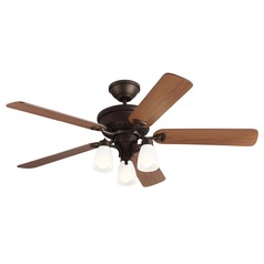 Monte Carlo Fans English Bronze Ceiling Fan with Light