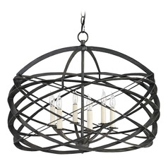 Currey and Company Lighting Horatio Black Iron Chandelier