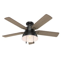 Hunter 52-Inch Matte Black Ceiling Fan with Light