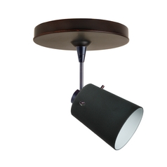 Modern Directional Spot Light with Black Glass in Bronze Finish
