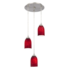 Design Classics Lighting Modern Multi-Light Pendant Light with Red Glass and 3-Lights 583-09 GL1018D