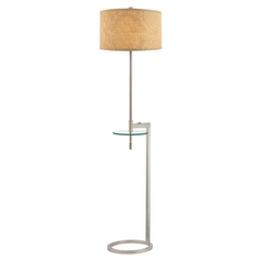 Gallery Tray Floor Lamp with Glass Table and Linen Weave Drum Shade