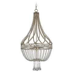Currey And Company 4-Light Chandelier in Chinois Antique Silver Leaf
