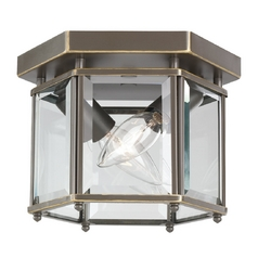 Flushmount Light with Clear Glass in Heirloom Bronze Finish