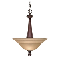 Pendant Light with Amber Glass in Old Bronze Finish