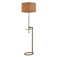 Gallery Tray Table Lamp in Bronze Finish with Drum Shade