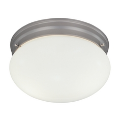 Modern Flushmount Light with White Glass in Pewter Finish