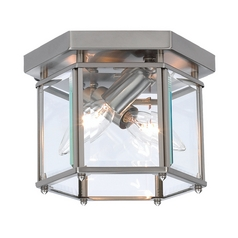 Flushmount Light with Clear Glass in Brushed Nickel Finish