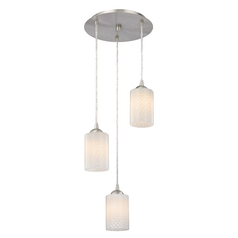 Design Classics Lighting Modern Multi-Light Pendant Light with White Glass and 3-Lights 583-09 GL1020C
