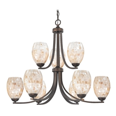 Bronze Two Tier Chandelier with Mosaic Glass and Oblong Shades