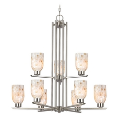 Design Classics Lighting Chandelier with Mosaic Glass in Satin Nickel Finish - 9-Lights 1122-1-09 GL1026D