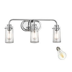 Seeded Glass LED Bathroom Light Chrome Kichler Lighting