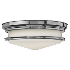 Flushmount Light with White Glass in Chrome Finish