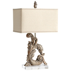 Cyan Design Posy Limed Gracewood Table Lamp with Rectangle Shade