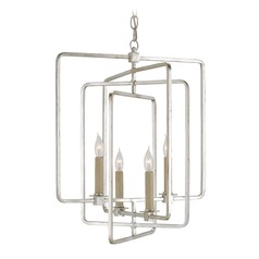 Currey And Company Metro 2-Tier 4-Light Chandelier in Silver Leaf