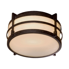 Close To Ceiling Light with Beige / Cream Glass in Textured French Bronze Finish