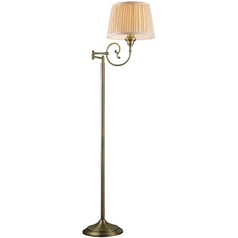 Floor Lamp with Beige / Cream Shade in Antique Brass Finish