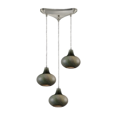 Modern Multi-Light Pendant Light with Mouth Blown Glass and 3-Lights