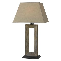 Kenroy Home Lighting Table Lamp with Beige / Cream Shade in Natural Slate Finish 30515SL